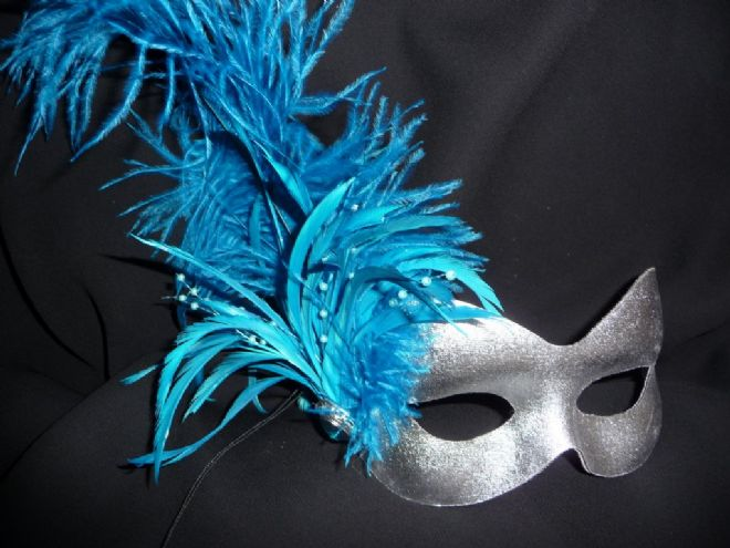 Silver & Turquoise Burlesque style masquerade  mask